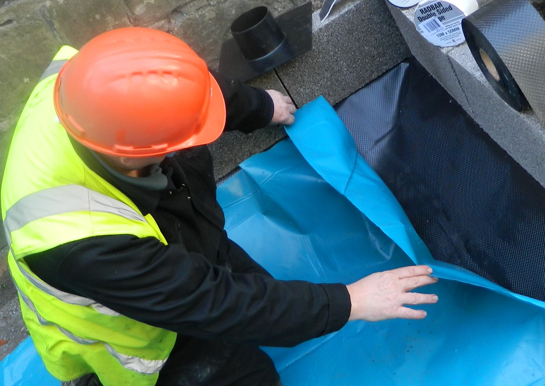 Damp Proof Membrane DPM Polythene Sheeting Visqueen Tuffreel Blue