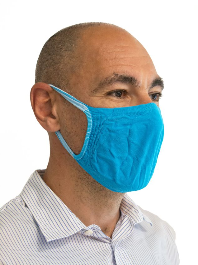 FMI Washable Reusable Face Mask / Covering Adult BLUE Antibacterial