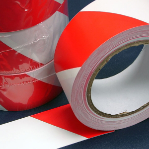 PVC Hazard Warning Tape Adhesive Red & White 12mm x 33m (96 Rolls)