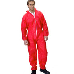 Polypropylene Disposable Suits Coveralls Red XXL
