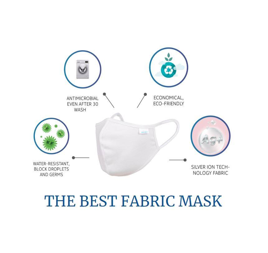 Nano Silver Reusable Washable Face Mask Covering 2 PLY (ADULT) V2