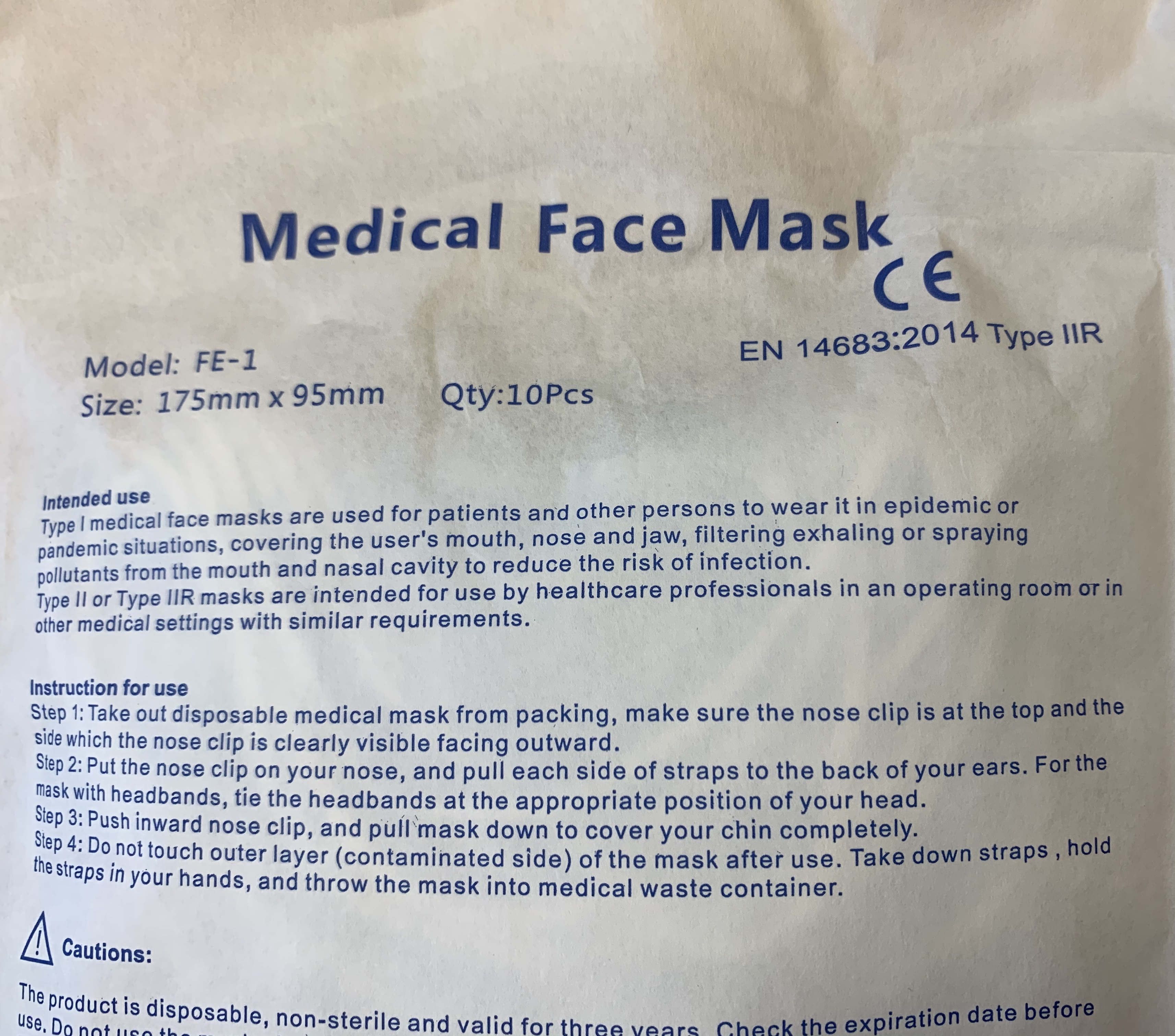 Type 2R (IIR) Medical Grade Surgical Face Masks (sealed pack of 10)
