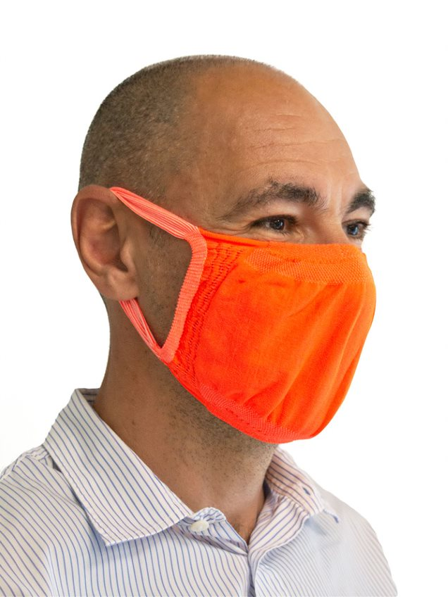 FMI Washable Reusable Face Mask / Covering Adult ORANGE Antibacterial